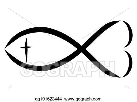 Clipart fish cross. Stock illustration a christian