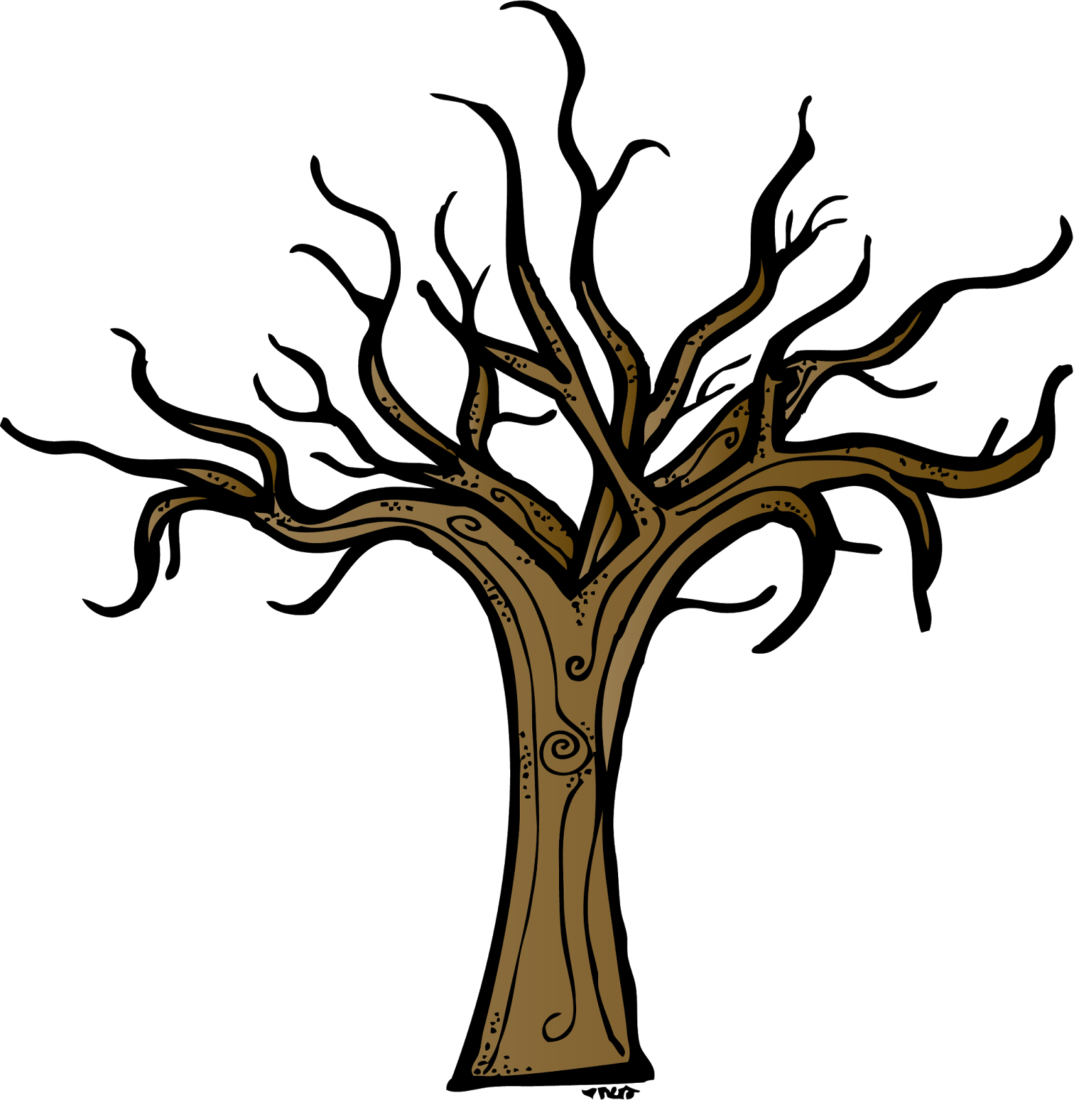 Dead forest silhouette at. Tree clipart october