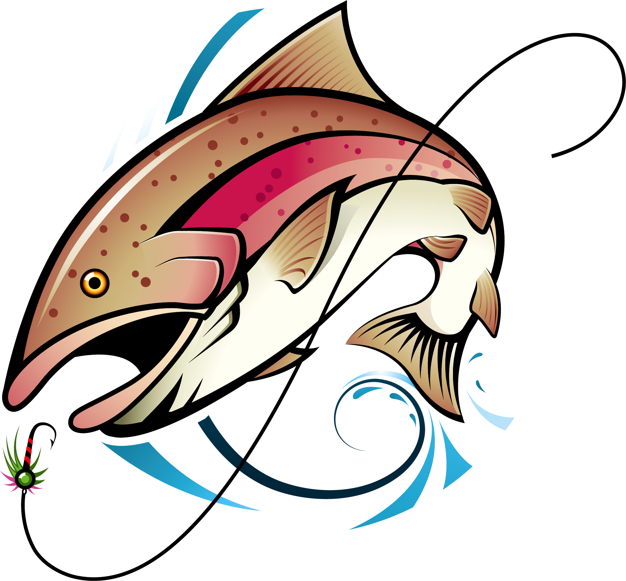 Dolphin clipart comic. Fly fishing rod clip