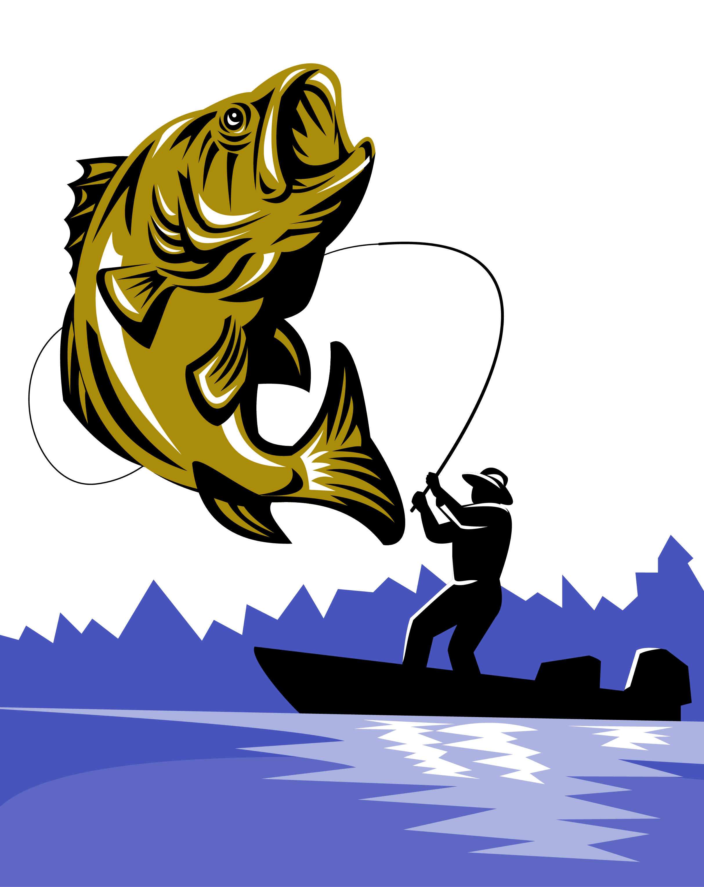 Bass fly rods transprent. Clipart fish fishing rod