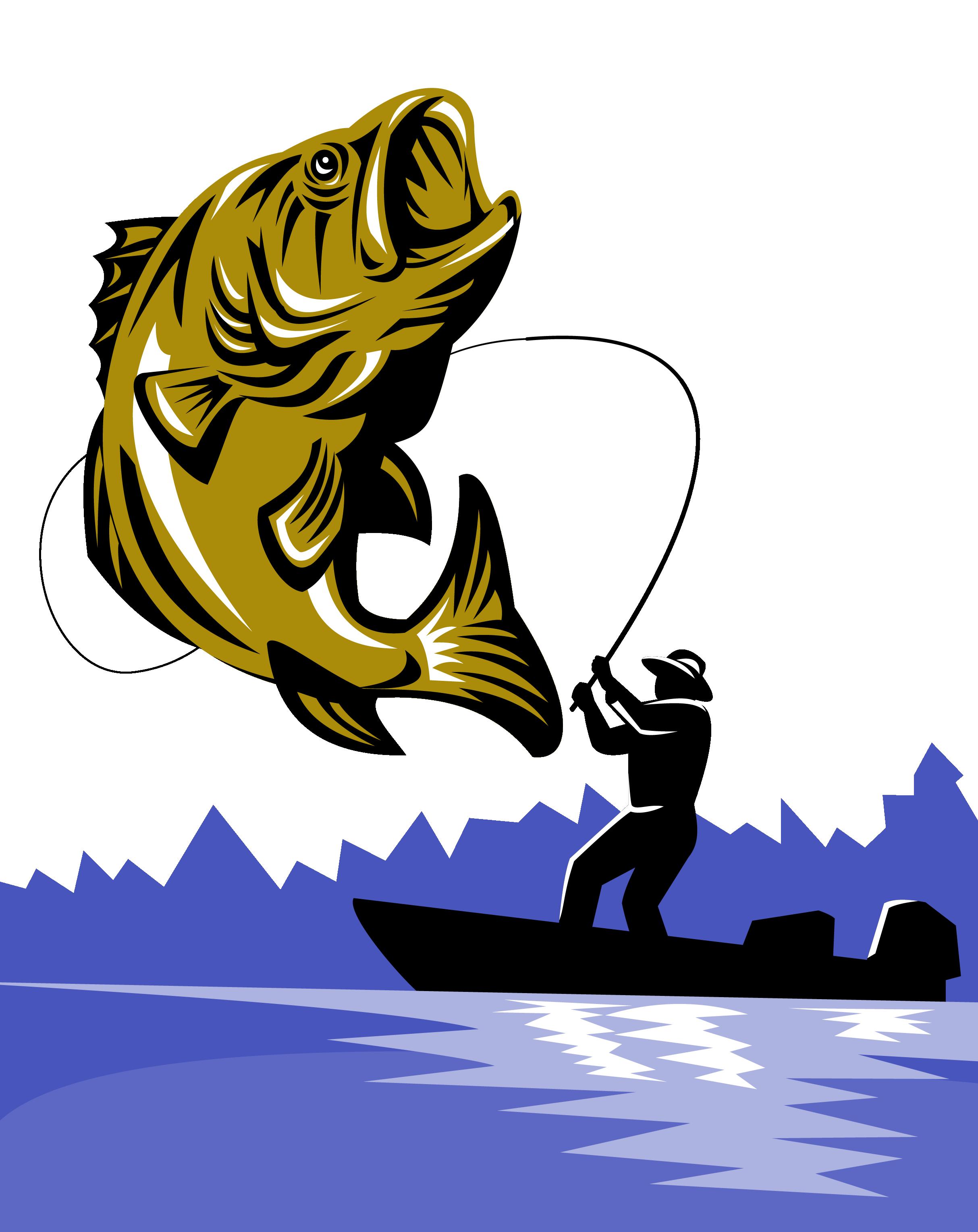 Fisherman clipart hook fish. Bass fishing rod fly