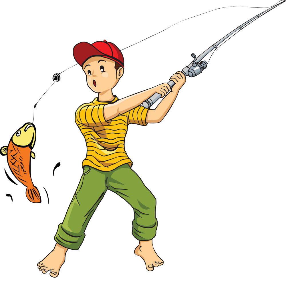 Clipart fish fishing rod. Cartoon clip art catch