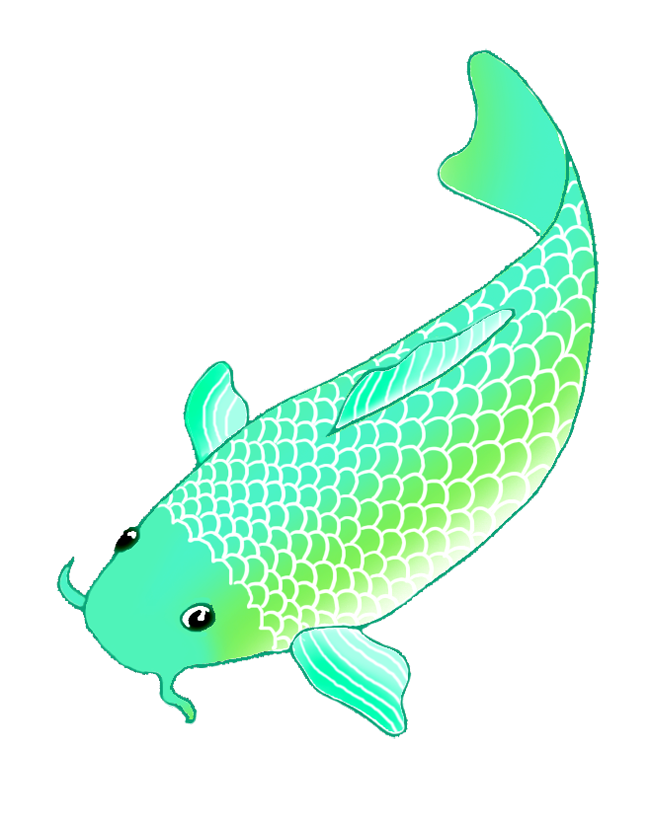 Colorful koi drawings sketch. Clipart fish green