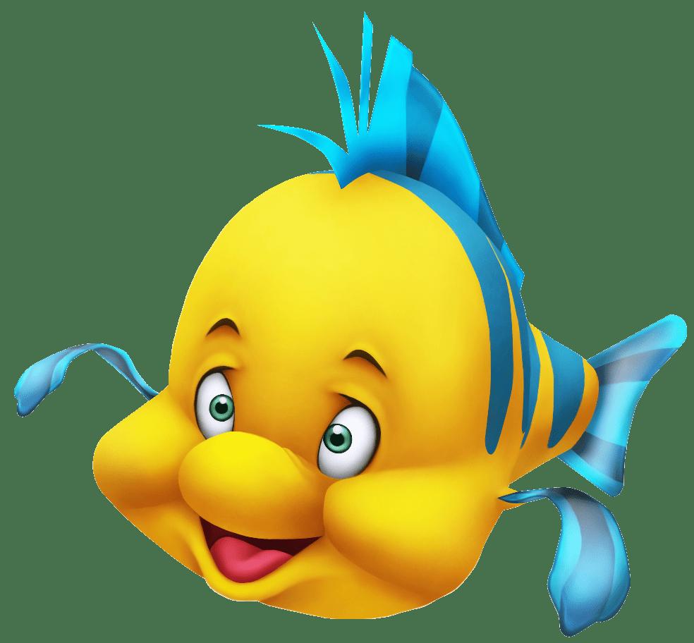 Clipart fish little mermaid. Flounder close up transparent