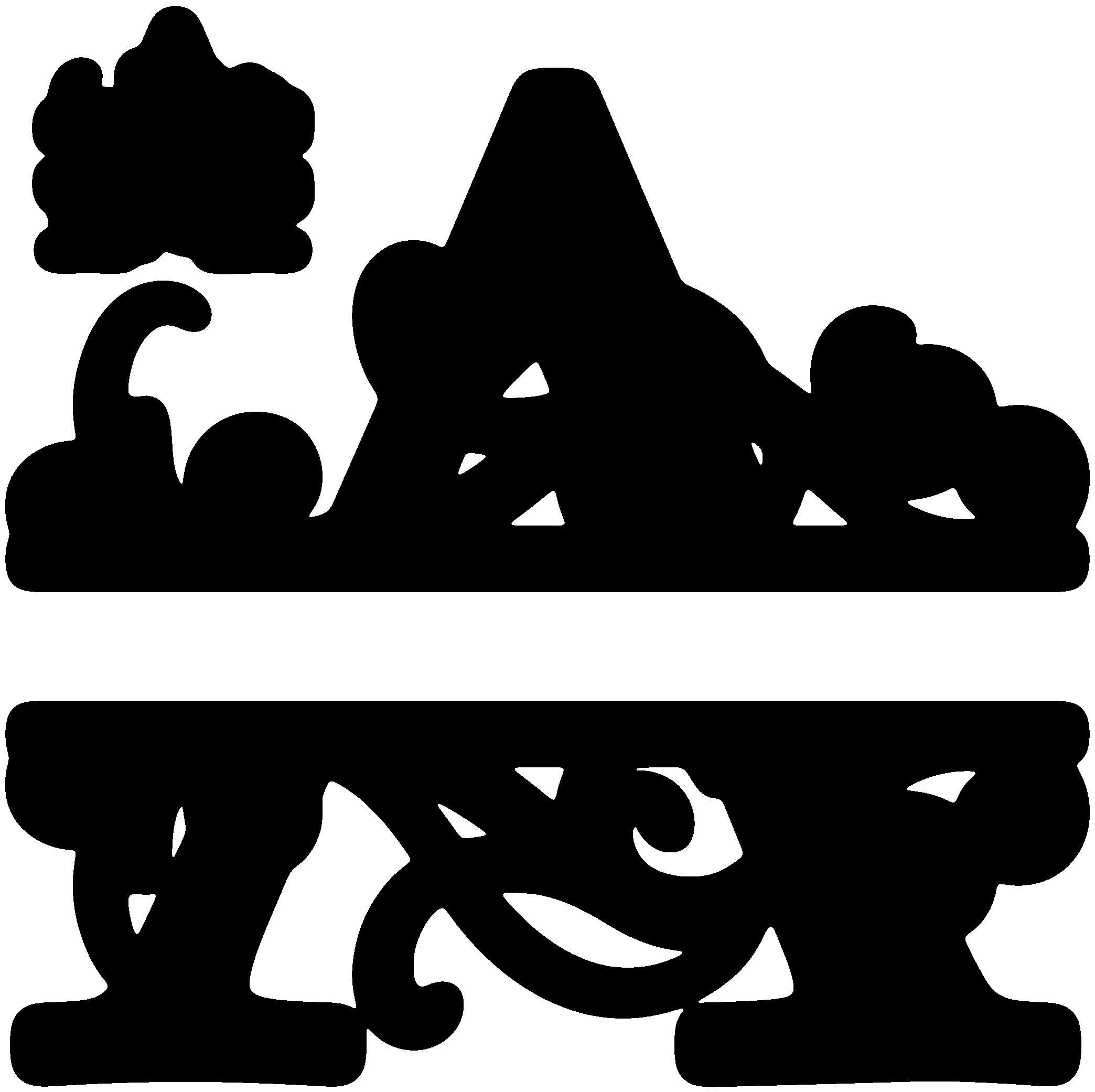 Flourish clipart monogram. A split silhouette graphics