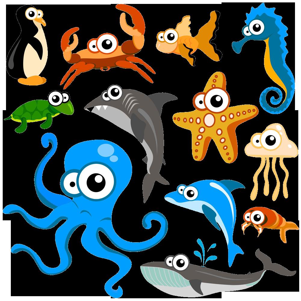 Clipart fish octopus. Hippopotamus cartoon animal clip