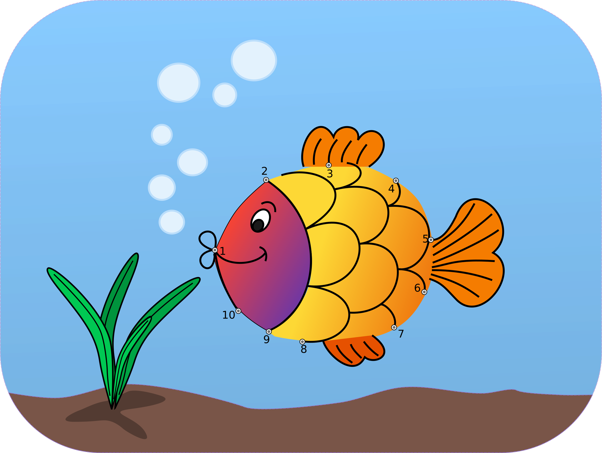 Connect the dots fish. Ox clipart blue