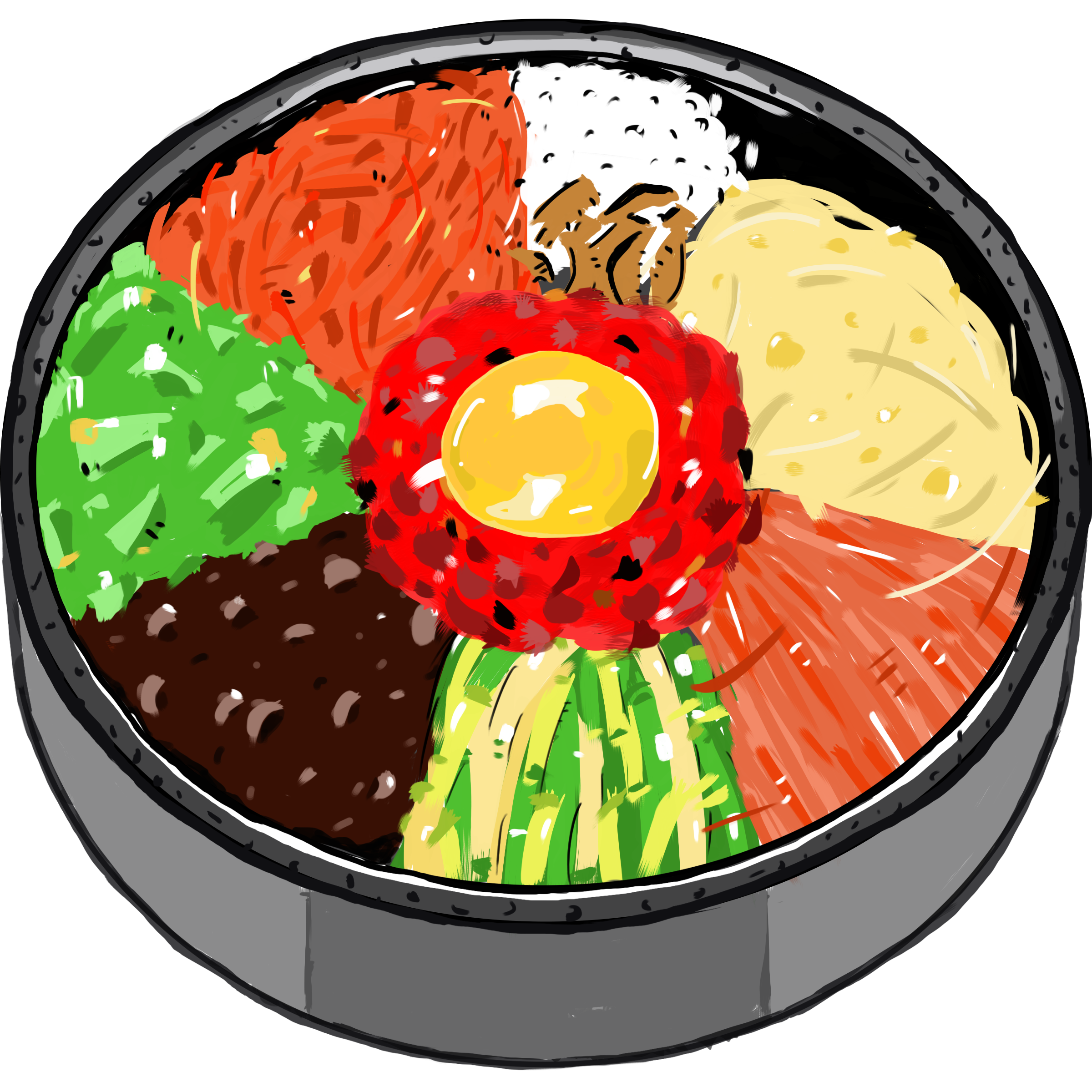 Bibimbap korean cuisine food. Rice clipart rice meal