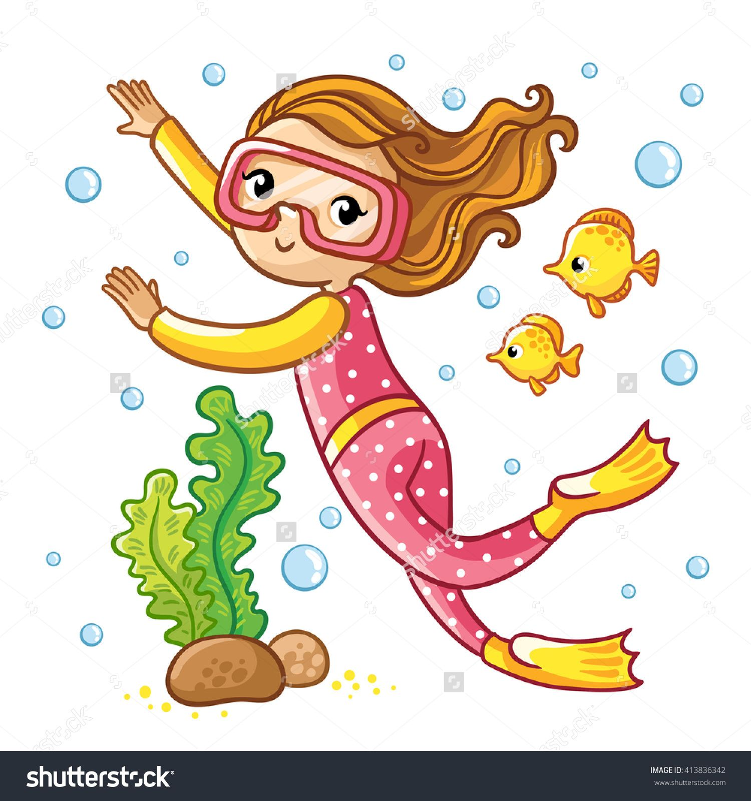 Diving clipart water clipart. Scuba girl swimming under