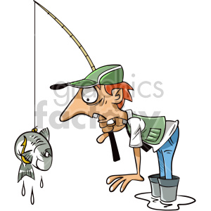 Fisherman clipart caricature. Tired fish cartoon character