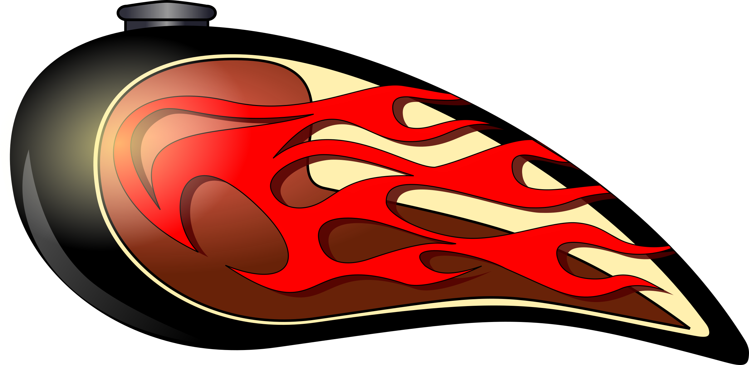 Flames clipart motorcycle. Chopper tank big image