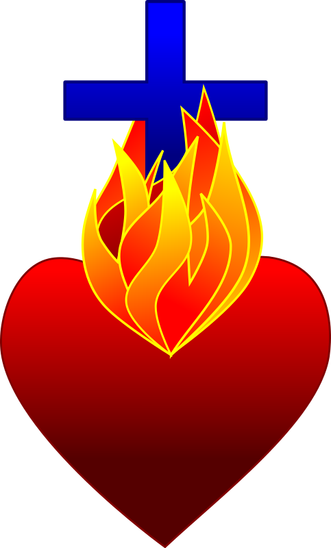 clipart hearts fire