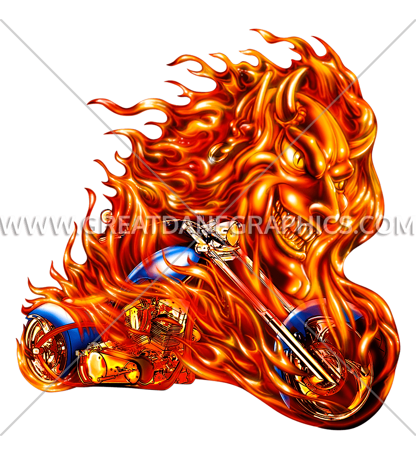Chopper Hell Flames | Production Ready Artwork for T-Shirt Printing