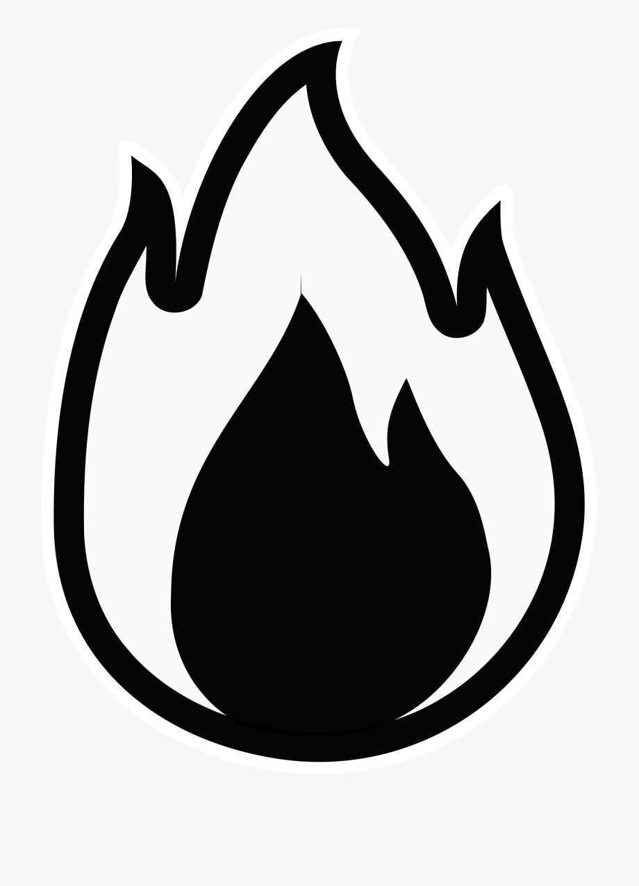 Small flame black and. Clipart flames line