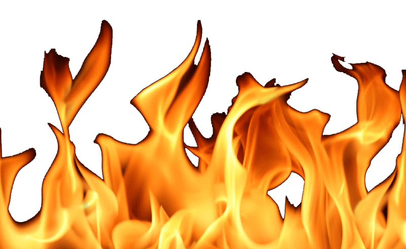 Painting on white background. Clipart flames realistic fire flame