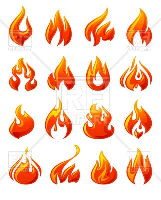 Flames clipart simple fire. Symbolic red flame icons