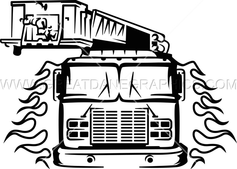 Fire truck flames production. Firetruck clipart black and white