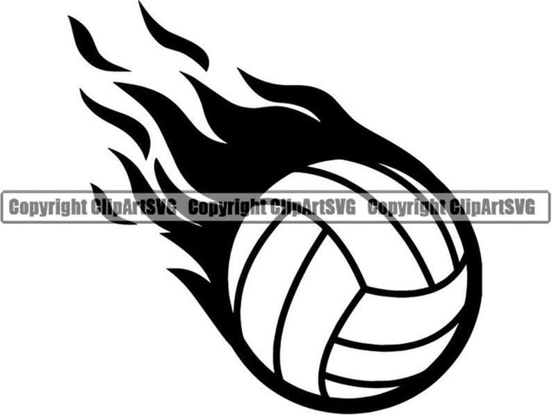 Ball fire court player. Volleyball clipart flame