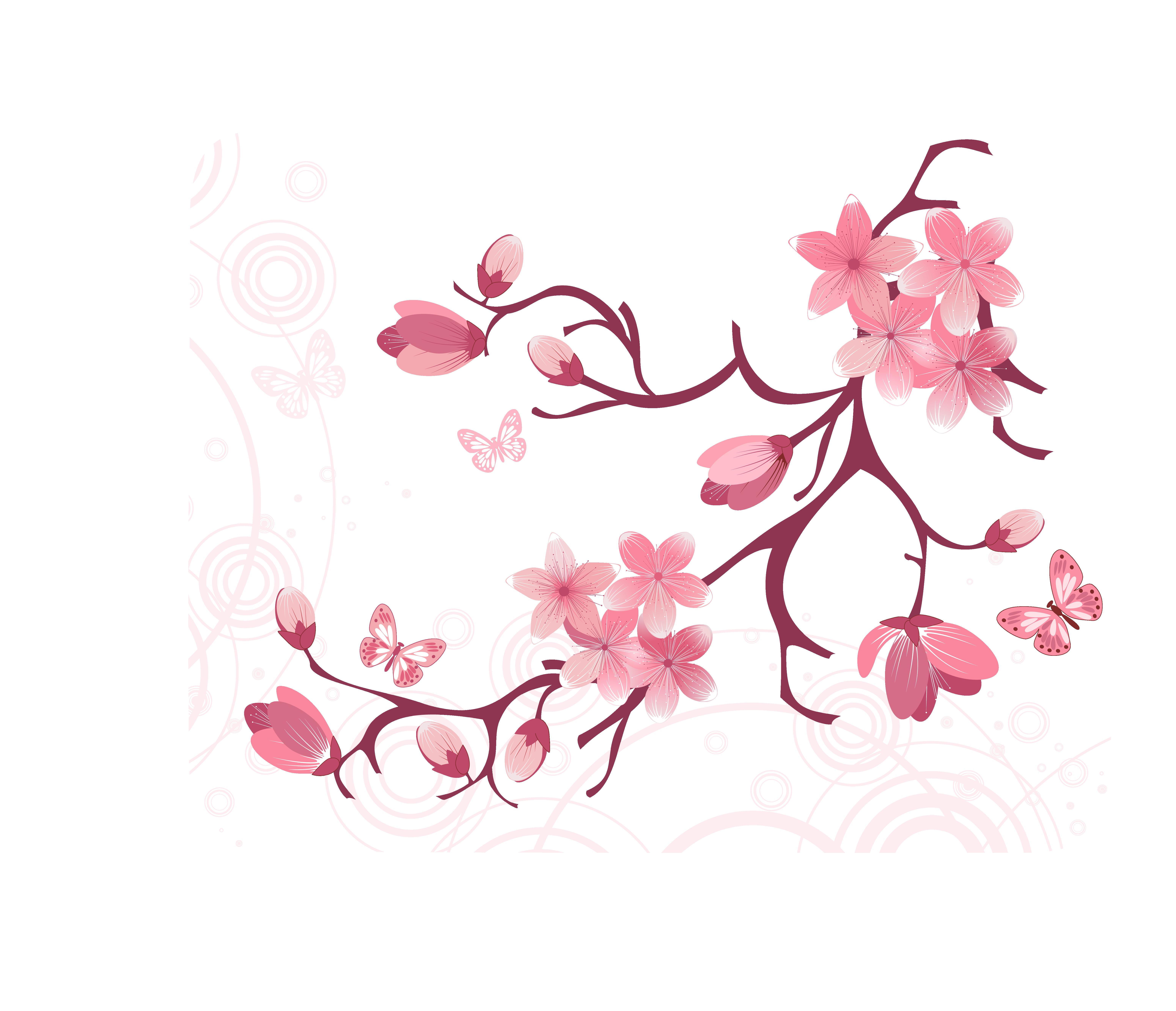 Clipart tree apple blossom. Clip art vector branches