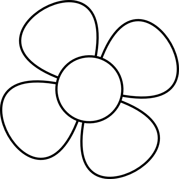 Clip art at clker. Clipart flower black and white