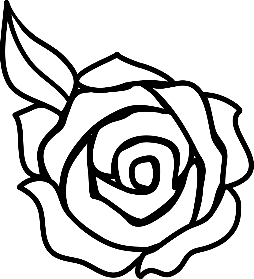 Flower black and white. Clipart rose top