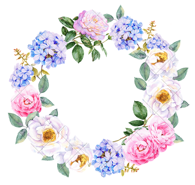 Watercolor flowers with roses. Flower wreath png