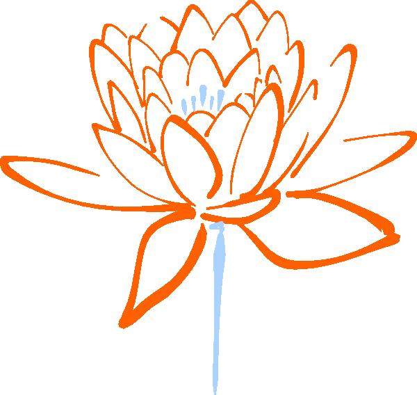 Orange clip art at. Lotus clipart blue lotus