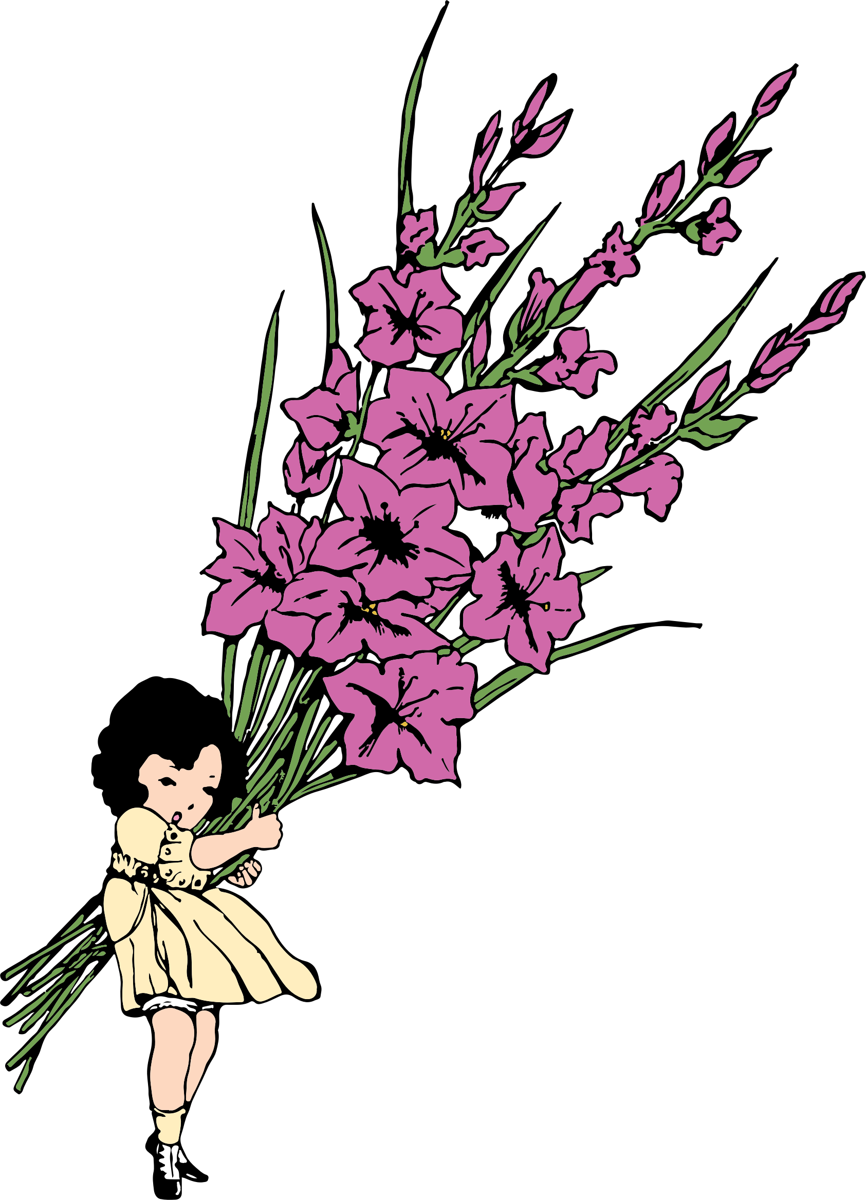 Girl big image png. Clipart flower child