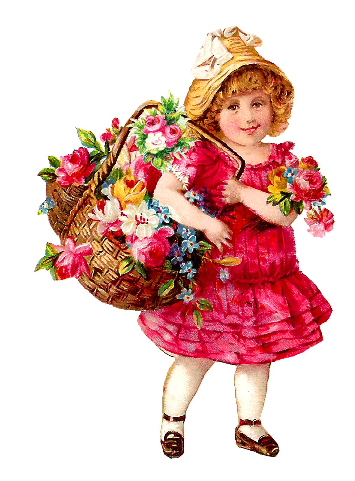 Antique images victorian free. Girls clipart flower