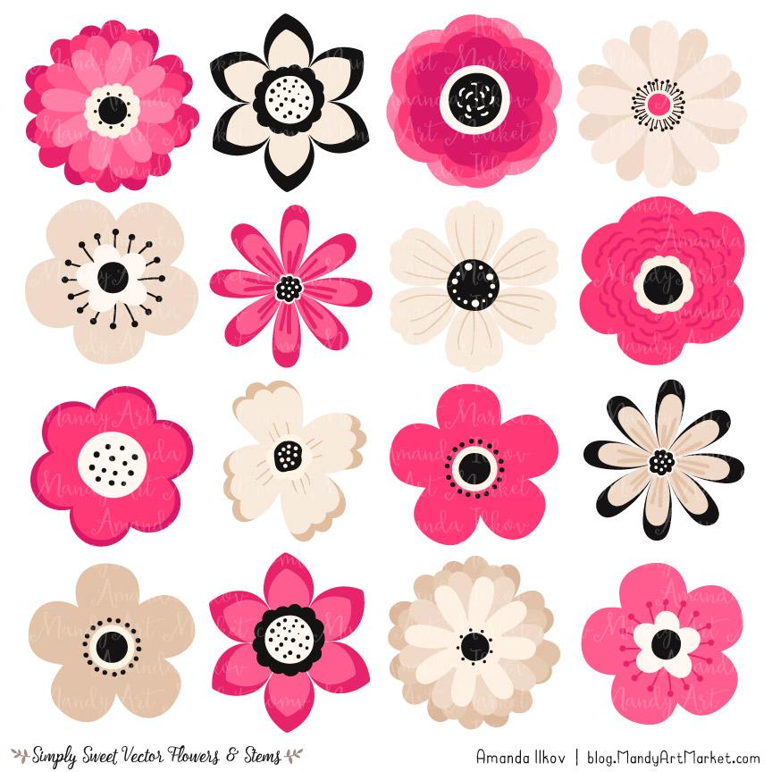 Hot pink flower vectors. Flowers clipart cute