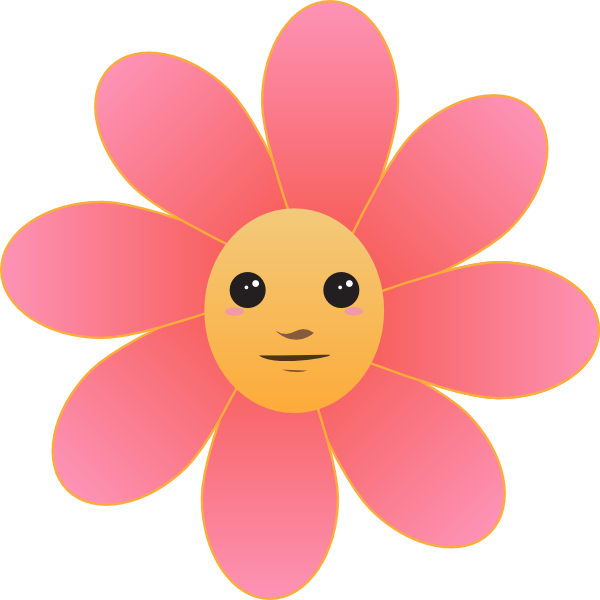 Wheel clipart cute. Flower face clip art