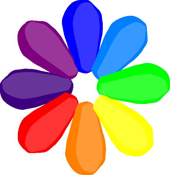 Clipart rainbow vector. Bright flower clip art