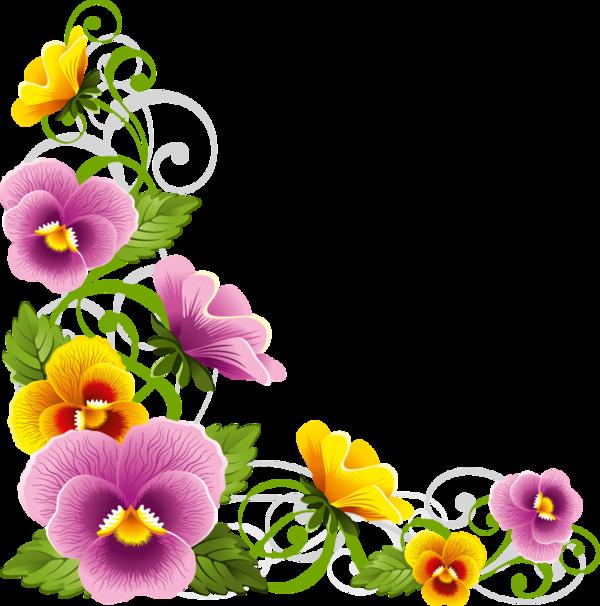 Edges corners tubes floral. Daisies clipart corner border flower