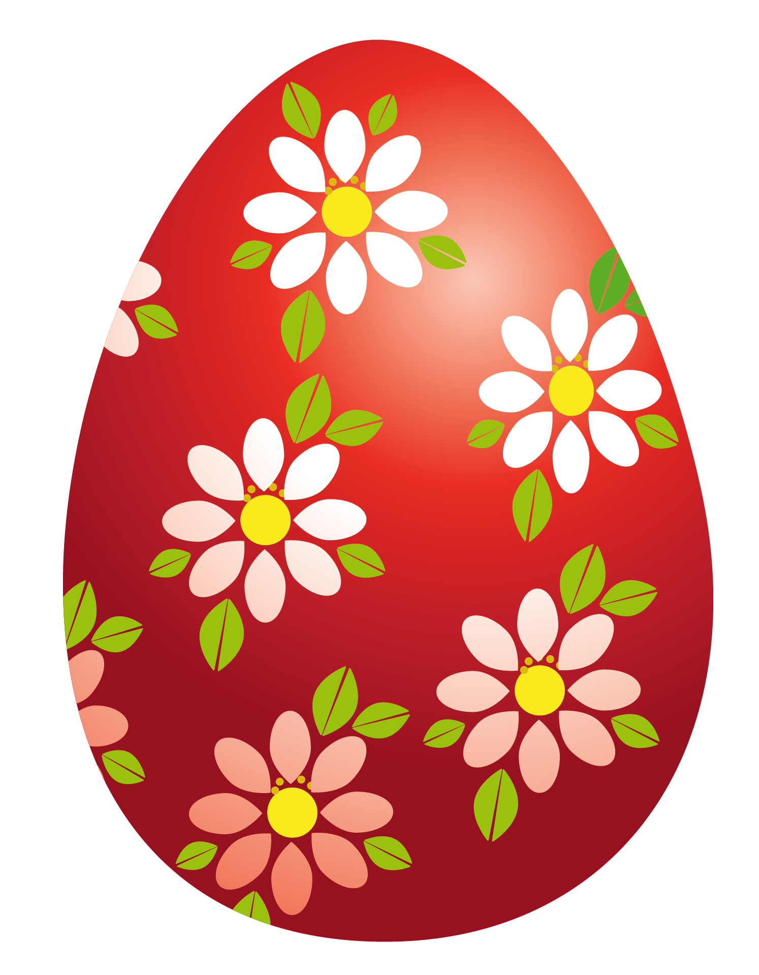 Red egg with png. Flowers clipart easter