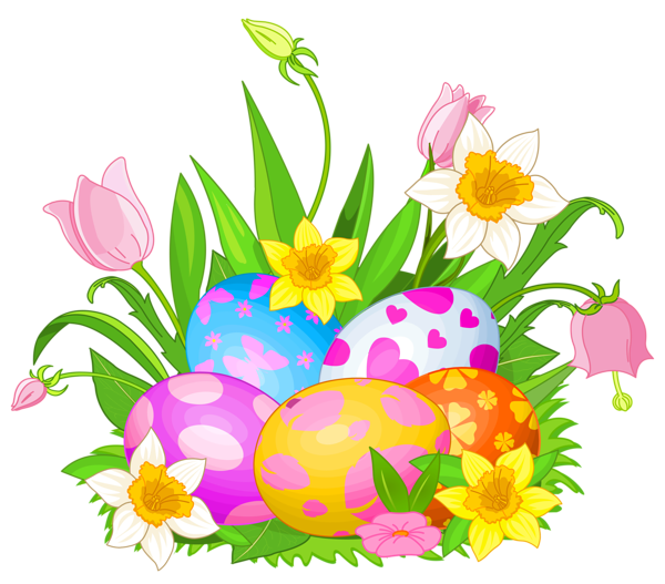 Flowers clipart easter. Eggs and png picture