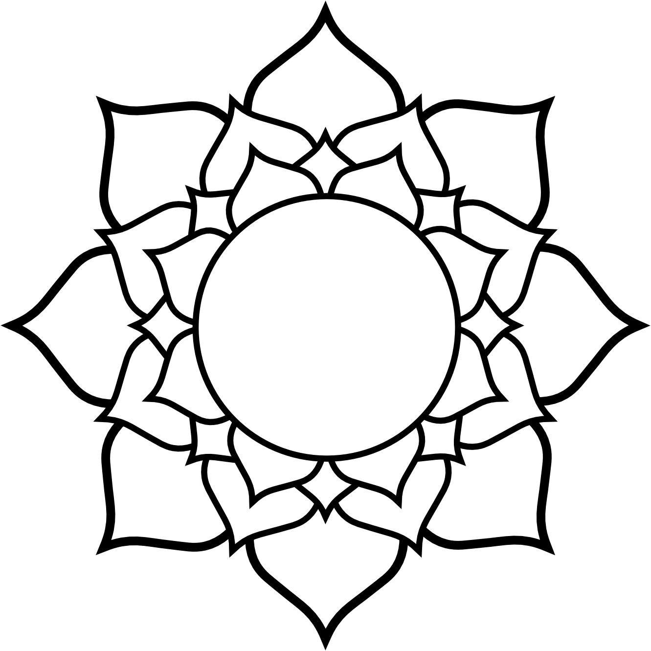Free lotus drawing download. Mandala clipart outlined