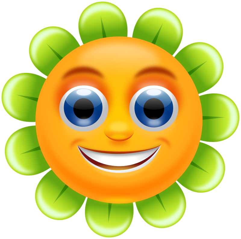 Flower with a face. Starfish clipart gambar