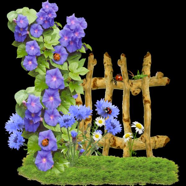 Clipart flower fence. Fleurs flores flowers bloemen