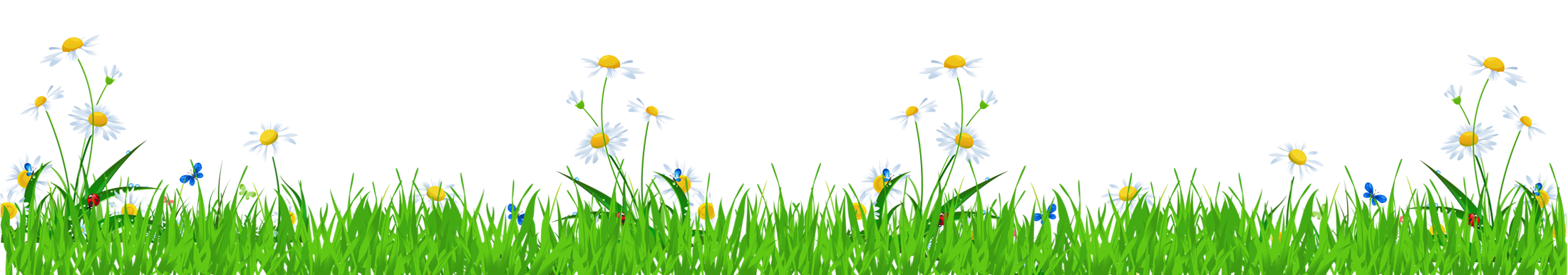 Grass with daisies and. Clipart flower fence