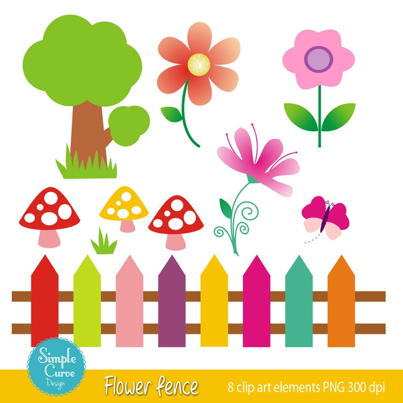 Digital elements for personal. Fence clipart flower