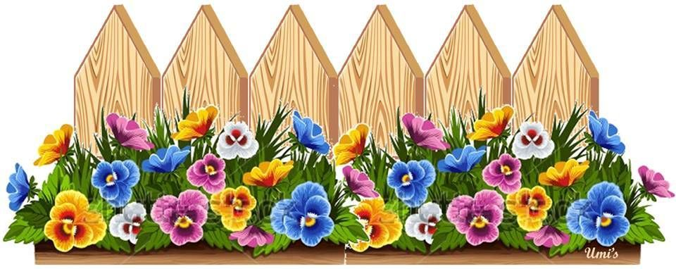 Flower station . Fence clipart colorful