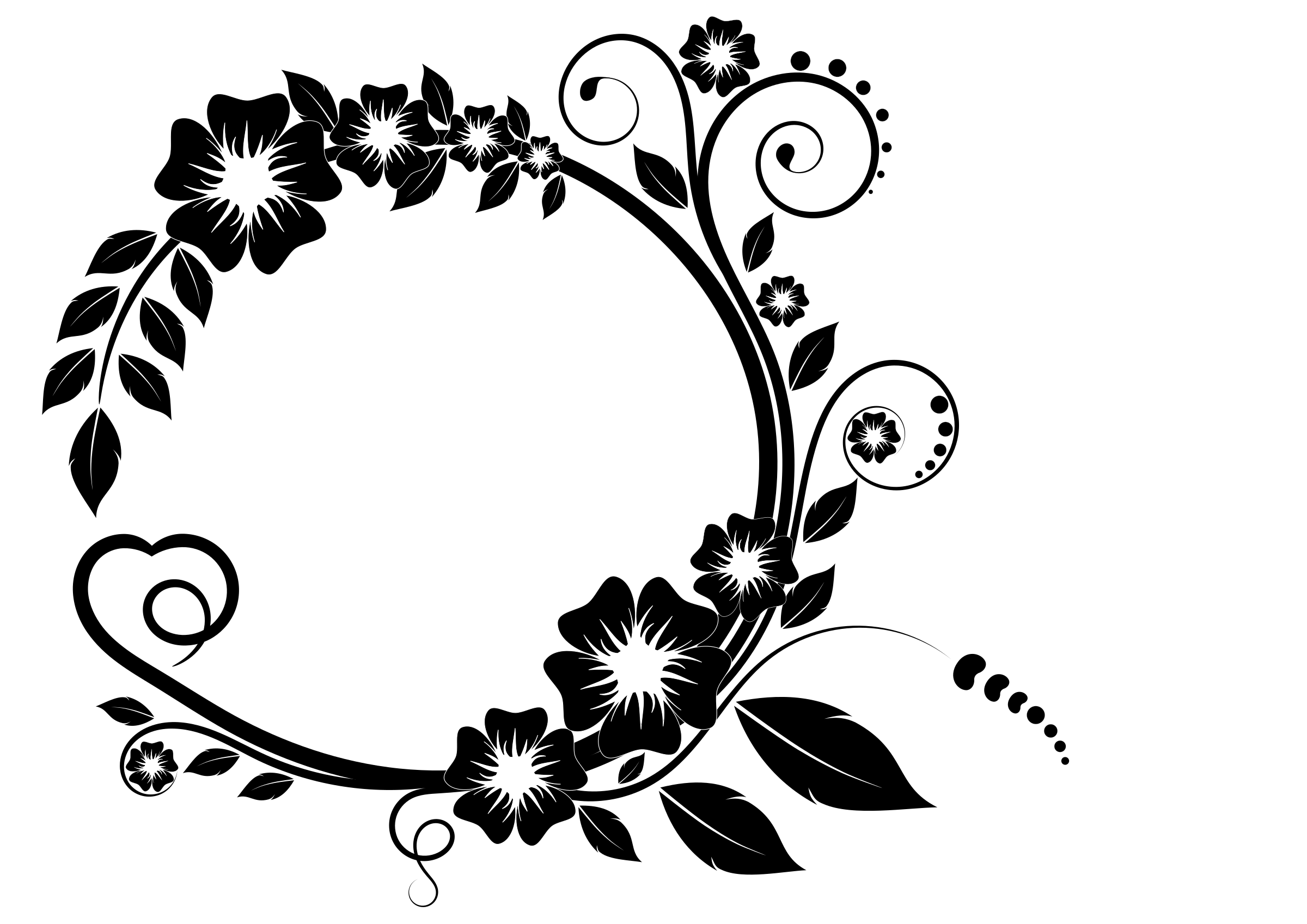Flower black and white png. Clipart frame big image