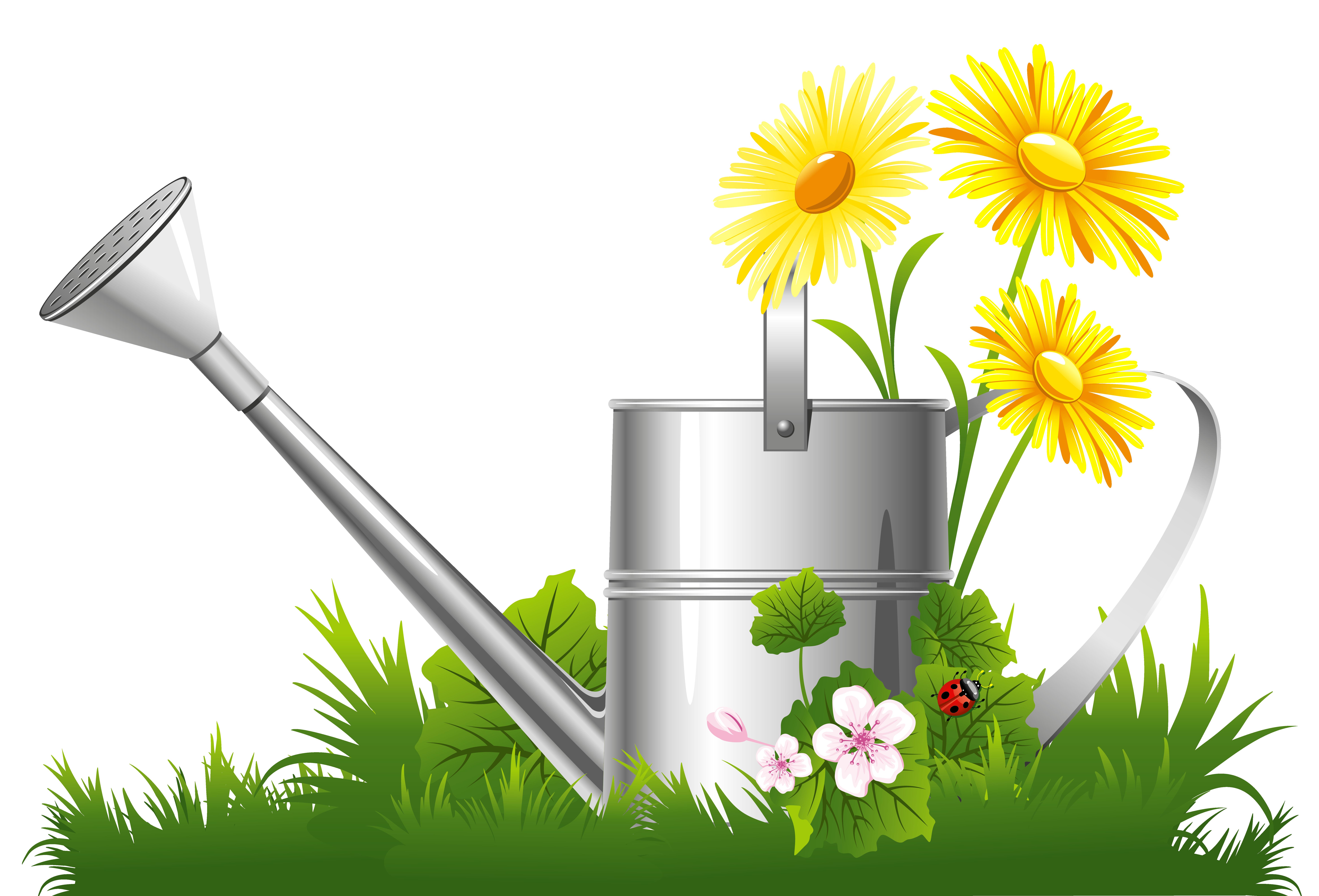 Garden clipart watering can. Flower clip art spring