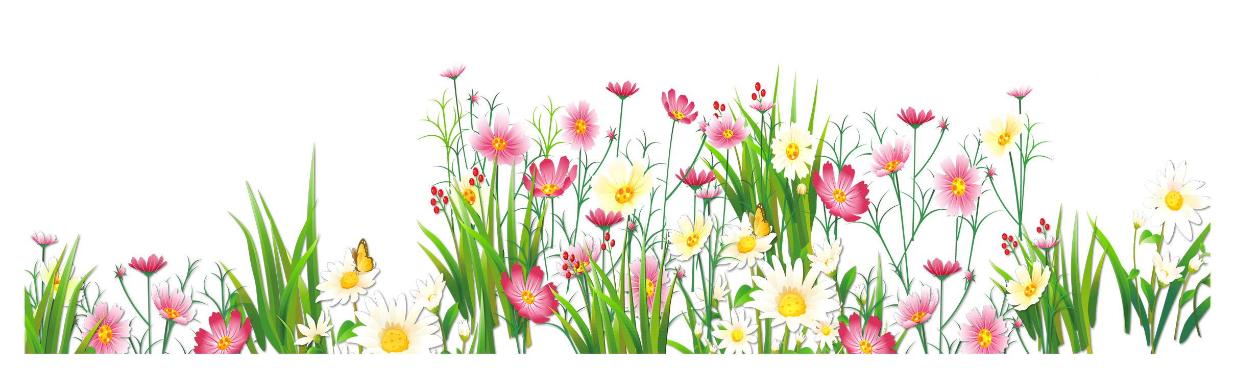 Flower cartoon png. Flowers and grass picture