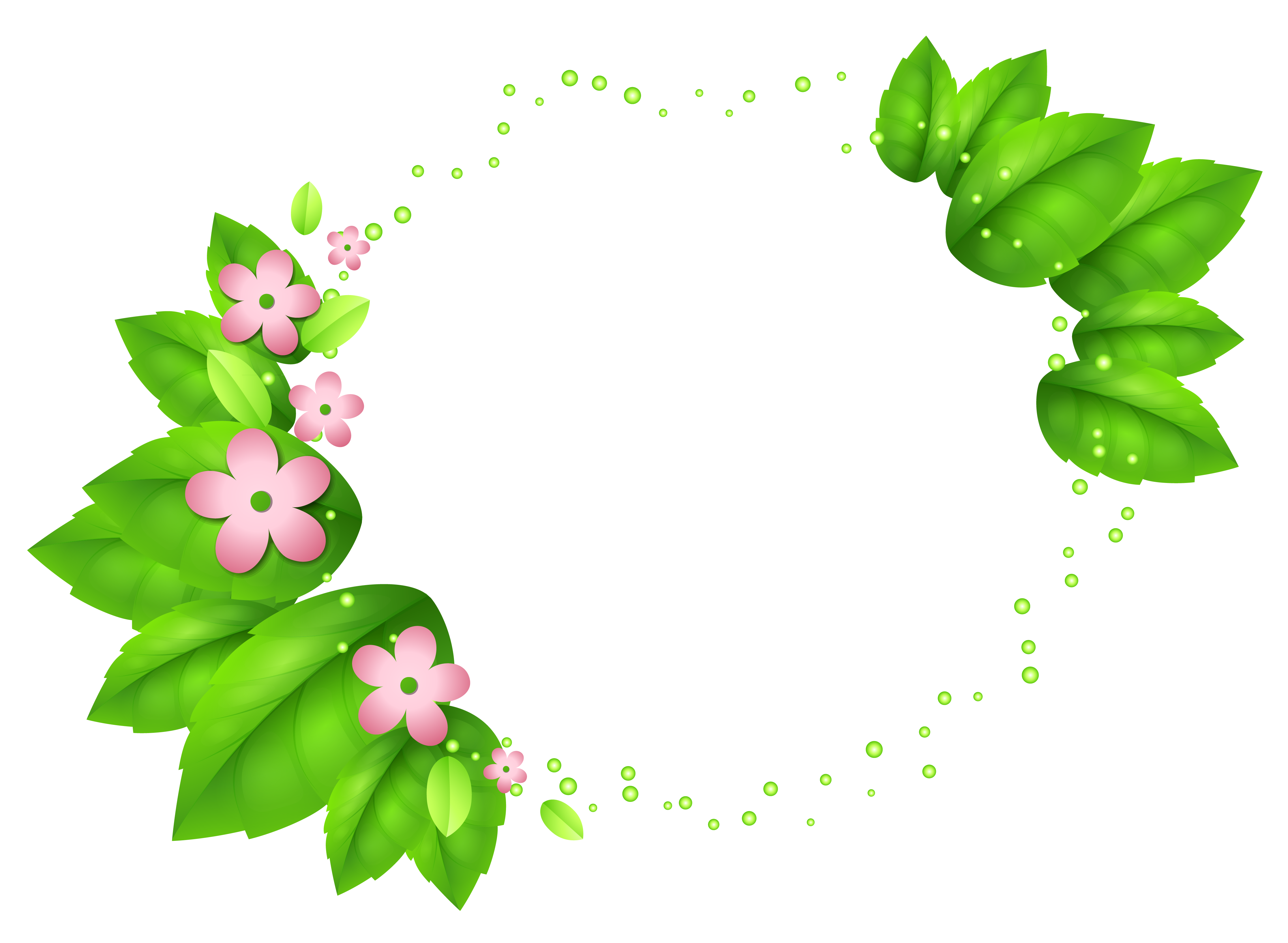 Green flower png. Spring decor with pink