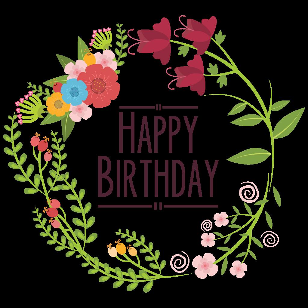 Design clip art flowers. Floral clipart happy birthday