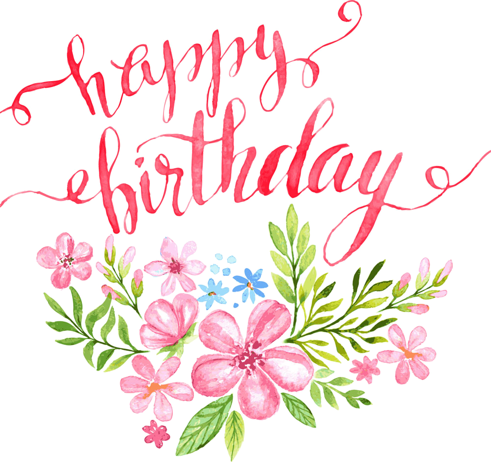 Flowers clipart happy birthday. Calligraphy greeting card illustration