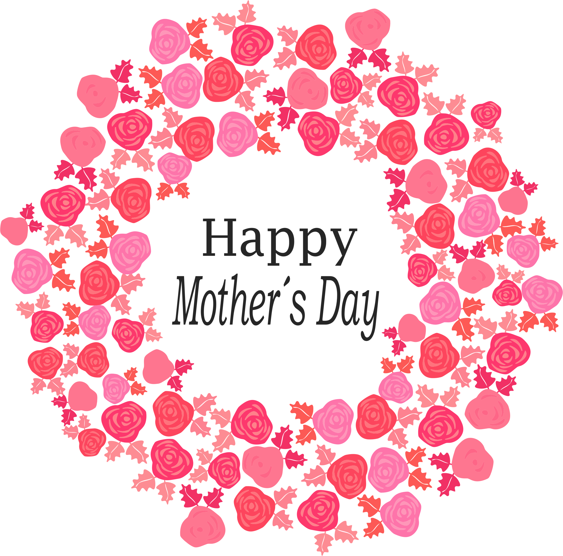 Happy bouquet of flowers. Heart clipart mothers day