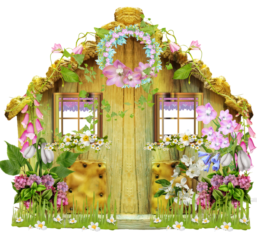 Flowers background window home. Flower clipart house