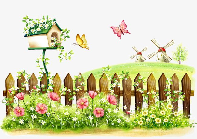 Fence clipart spring. Cartoon landscape painting beautiful